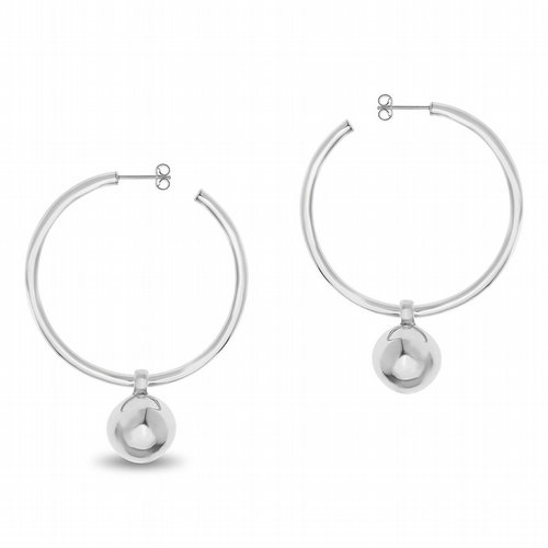 AMAI Jewellery - Ball Charm Hoop Earrings - Silver